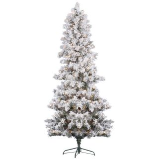 Vickerman Flocked White Pine Pre Lit Christmas Tree   Christmas Trees