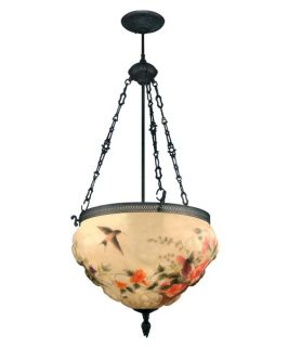 Dale Tiffany Rose Hummingbird Fixture   18W in. Antique Bronze Paint   Tiffany Ceiling Lighting