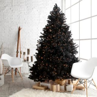 Classic Black Full Pre lit Christmas Tree   7.5 ft.   Clear   Artificial Christmas Trees