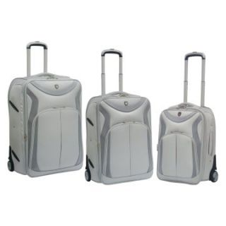 Travelers Club 3 Piece Sleek Traveler Luggage Set with In Line Blade Wheels   Silver Glaze   Luggage Sets