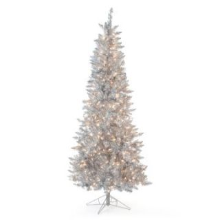 Silver Tiffany Tinsel Pre Lit Christmas Tree   Christmas Trees