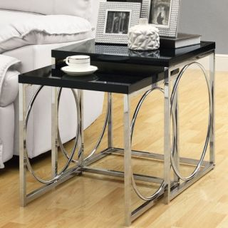 Monarch Glossy Black / Chrome Metal Nesting Tables   2 Piece Set   End Tables
