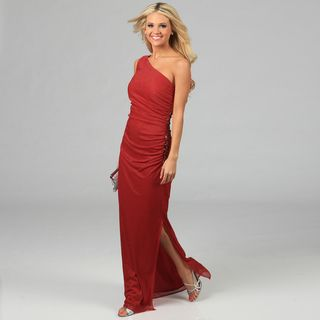 Women's Red One shoulder Glittery Gown Evening & Formal Dresses