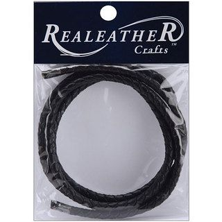 Silver Creek Realeather 24 inch Round Braided Black Leather Cord Silver Creek Leather Crafting