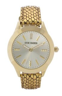 Steve Madden Textured Metallic Leather Strap Watch, 40mm