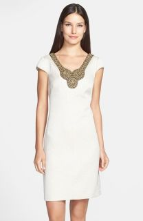 Adrianna Papell Embellished Woven Sheath Dress