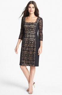 Adrianna Papell Crepe & Lace Sheath Dress