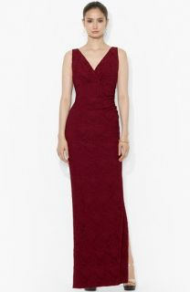Lauren Ralph Lauren Lace Empire Column Gown (Regular & Petite)