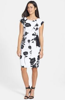 Taylor Dresses Bow Detail Floral Print Stretch Sheath Dress