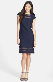 Taylor Dresses Illusion Banded Stretch Knit Sheath Dress