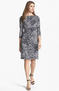 Adrianna Papell Animal Print Ruched Sheath Dress (Plus Size)