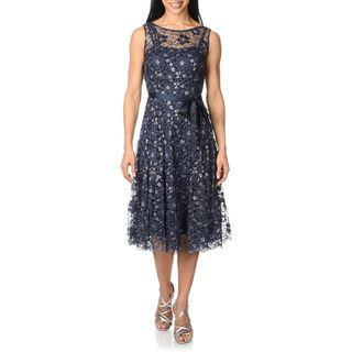 S.L. Fashions Womens Metallic Lace Dress S.L. Fashions Evening & Formal Dresses