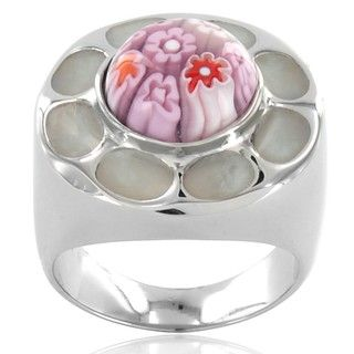 Stainless Steel Pink Glass Flower Cocktail Ring West Coast Jewelry Crystal, Glass & Bead Rings