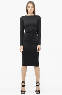 Nicole Miller Ruched Ponte Knit Midi Sheath Dress