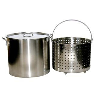 80 quart Stainless Steel Stock/ Brew Pot with Deep Steamer Basket and Lid BALLINGTON Pots/Pans