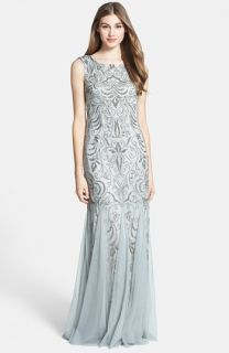 Adrianna Papell Beaded Mermaid Gown (Regular & Petite)