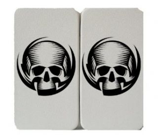 Black Line Art Swirl Skull Logo   White Taiga Hinge Wallet Clutch Clothing