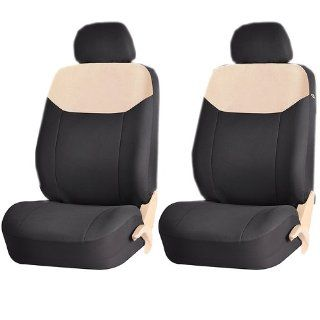 Elegant Style 186 Beige & Black Front Low Back Airbag Compatible Seat Covers Set Universal Automotive