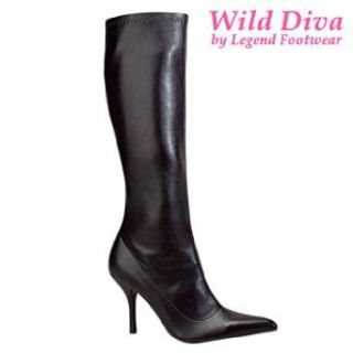 "Wild Diva Cosmo 187 Black Stretch PU Boots 4"" Heel, Zip Side (5 1/2) Clothing"