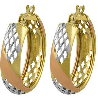 Fremada 10k Tri color Gold Diamond cut Hoop Earrings Fremada Gold Earrings