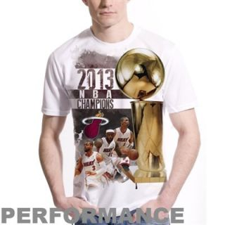 Levelwear Miami Heat 2013 NBA Finals Champions Big Trophy Performance T Shirt   White
