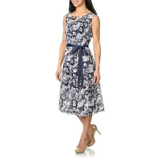 S.L. Fashions Womens Printed Lace Dress S.L. Fashions Evening & Formal Dresses