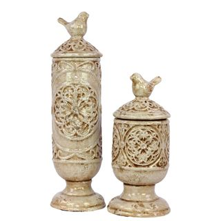 Urban Trends Collection Antique White Ceramic Jars with Lids (Set of 2) Urban Trends Collection Vases