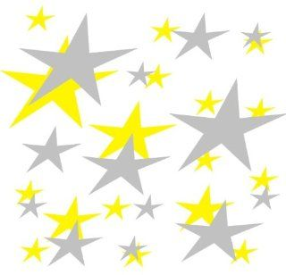 set of 202 Yellow and Silver stars Vinyl wall lettering stickers quotes and sayings home art decor kit peel stick mural graphic appliques decal   Wall Banners