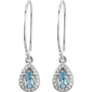 14K White Gold, 1/10 ct. Diamond and 6 x 4 MM Pear Shaped Genuine Aquamarine Halo Styled Dangle Earrings Katarina Jewelry