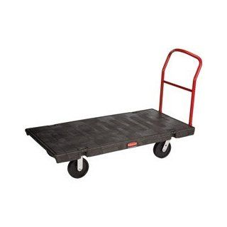 "Rubbermaid Commercial 4471 2000 lbs Mass Capacity, 60"" Length x 30"" Width, HDPE Black Heavy Duty Platform Truck"