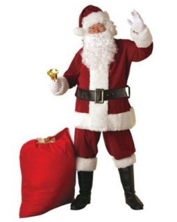 Crimson Regal Plush Santa Costume Adult BONUS OFFER   Free Wig & Beard Included Clothing