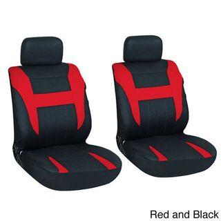 Oxgord 4 Piece Two Toned Cloth Seat Cover Set for Two Automotive Front Chairs Auto Interior Accessories