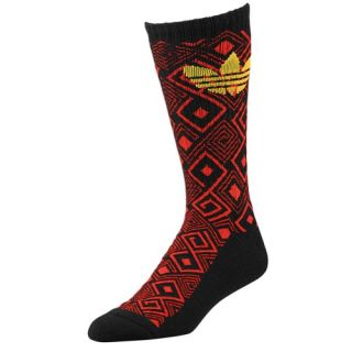 adidas Originals Geometric Crew Socks   Mens   Casual   Accessories   Black/Light Scarlet/Sunshine