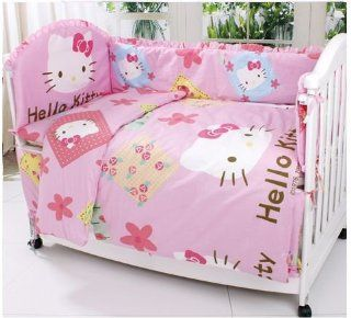 Hello Kitty Crib Bedding Sets for Girls 7 Pieces Pink Cotton Baby Bedding Nursery Set Removable and Washable with Buckwheat Pillow All Items Can Be Custom Personalized Baby