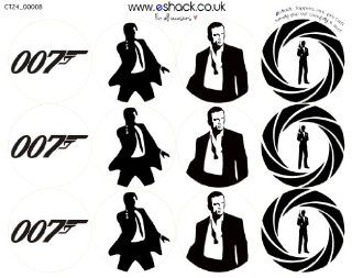 Cakeshop 24 x PRE CUT James Bond 007 Edible Cake Toppers Kitchen & Dining