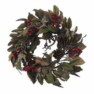 "Real Looking 24"" Pinecone, Berry & Feather Wreath   Holiday   Silk Wreath   Artificial Mixed Flower Arrangements"