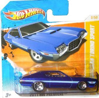 2011 Hot Wheels '72 FORD GRAN TORINO SPORT (Metallic Blue) #2/244, 2011 HW Premiere #2/50 (SHORT CARD) Toys & Games