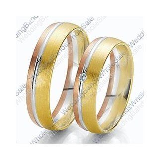 18k Tri Color Rose, White & Yellow Gold 7mm 0.03ct His & Hers Wedding Rings Set 244 Wedding Bands Wholesale Jewelry
