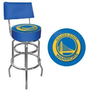 Golden State Warriors NBA Padded Swivel Bar Stool with Back   Game Room Products Pub Stool NBA  Barstools With Backs