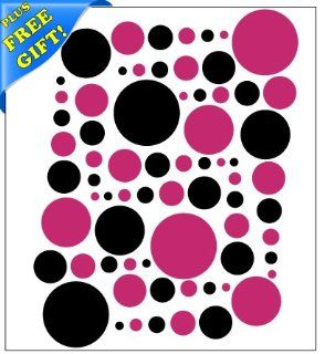 Set of 251 Hot Pink and Black Circles Polka Dots Vinyl Wall Decals Stickers + with Free Sticky Notepad [Peel and Stick Graphic Mural Decal Circle Dot Kit Appliques]   Wall Decor