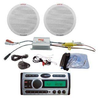 Pyle Deluxe CD/ Audio & Speakers Package for Boat/Car/Truck/SUV    PLCDMR97 1.5 Din AM/FM Receiver CD/CDR//AM FM Marine Grade Player + PLMRKT2A 2 Channel Waterproof /iPod Amplified 6.5'' Marine Speaker System.  Vehicle Dvd Players  C