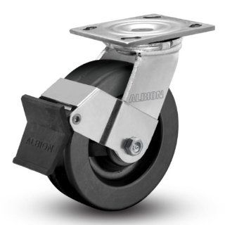 "Albion 11 Series 5"" Diameter Phenolic Wheel Empire Medium Heavy Duty Swivel Caster with Face Brake, Roller Bearing, 4 1/2"" Length X 4"" Width Plate, 1000lbs Capacity (Pack of 4)"
