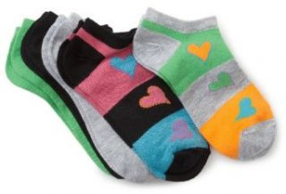 Fruit Of The Loom Girls 7 16 5 Pair Flat Knit Low Cut Socks With Heart, Assorted, Medium(10.5 4) Clothing