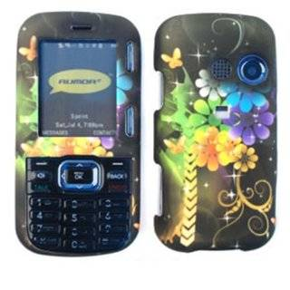 ACCESSORY MATTE COVER HARD CASE FOR LG RUMOR2 / COSMOS LX 265 COLORED FLOWERS BUTTERFLIES BLACK Cell Phones & Accessories