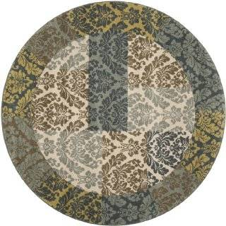 6.6' Pacific Brocade Slate Gray, Moss and Parchment Round Area Throw Rug