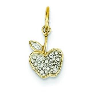 14K Yellow Gold Diamond Apple Charm Pendant Jewelry Jewelry