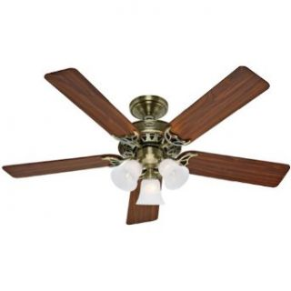 "Hunter 26420 52"" Ceiling Fan, Antique Brass Finish with Medium Oak Walnut"