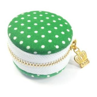 AllyDrew Macaron Coin Purse Trinket Box Jewelry Pouch, Green Polka Dots Shoes