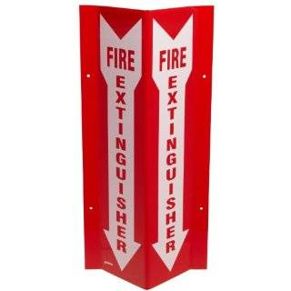 "Brady SP818V 18"" Height, 8 1/2"" Width, 3 1/4"" Depth, Acrylic, Red On White Color Tall ""V"" Sign, Legend ""Fire Extinguisher (With Picto)"""