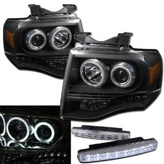 2007 2012 Ford Expedition Ccfl Halo Projector Headlights + 8 Led Fog Bumper Light Automotive
